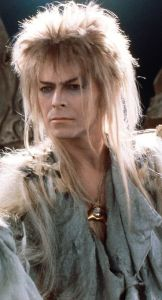 David Bowie as Jareth the Goblin King.  If you want to see the spandex pants in all their glory, you'll have to look elsewhere.